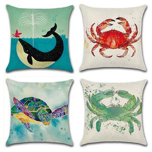 Sea Style Turtle Pattern Cushion Cover Whale Cotton Linen Pillow Case For Car Sofa Home Decorative Pillowcase funda de almohada
