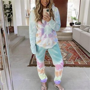 Colorful Ladies Two Pieces Outfits Spring Summer Long Sleeve Hooded Long Pants Loose 2PCS Tracksuits Casual Sports Suits At Home