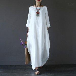 Balanço solto Womens Vestidos O-Neck Casual Mulheres Designer Vestido Moda Verão confortável Ladies Clothing Big