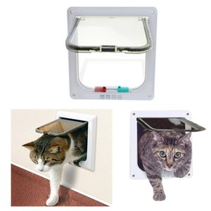 4 functions ABS Plastic Animal Small Pet Cat Dog Gate Lockable Dog Cat Kitten Door Security Flap Door Pet Supplies In and out