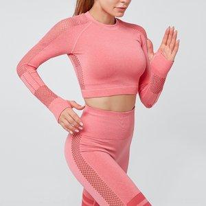 deportes hAmRq Navel de manga larga de secado rápido ropa de fitness apretado atractivo tramo Escudo camiseta camiseta de entrenamiento cortos de la camiseta de las mujeres de manga larga