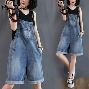 Plus Size Women Jumpsuits Denim Blue Pocket Female Rompers Overalls Summer Playsuit Fashion Belted Loose Ladies Overalls
