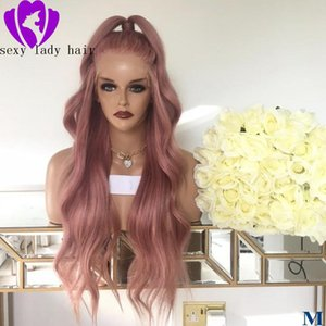 Long Pink Hair Loose Wave Hair 360 Lace Wigs middle part Part Glueless Synthetic Lace Front Wigs for Fashion Women