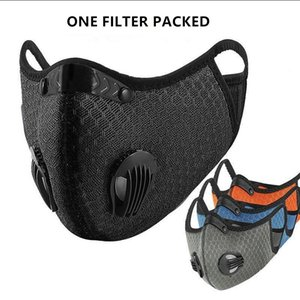 Eğitim Bisiklet Yeniden kullanılabilir Maskesi Koşu Değerler Filtre Siyah etkinleştirme Karbon PM2.5 Anti Toz Sports ile ABD Stok Bisiklet Koruyucu Yüz Maskeleri