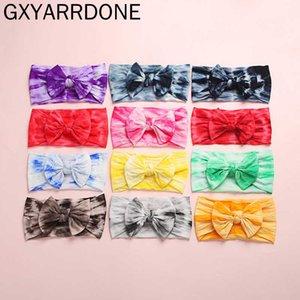 2020 Headbands New Tie Dye Prints Nylon bebê Tie Dye arco-íris cor de cabelo headwraps Meninas Arcos Turban Bun Headband Headwear