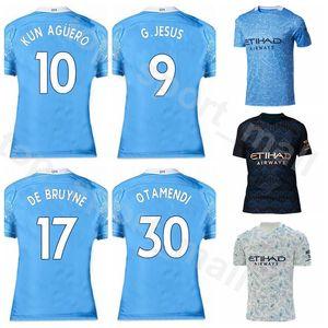 2020 2021 Manchester Soccer City 10 KUN AGUERO Jersey 17 DE BRUYNE 7 STERLING 9 JESUS 26 MAHREZ BERNARDO SANE Football Shirt Kits