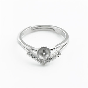 HOPEARL кольцо ювелирных изделий Blank Циркон 925 Sterling Silver Triangle как Crown Pearl Ring Mount 3 шт
