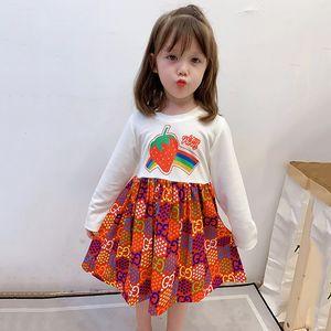 Autumn 2020 Girl Strawberry Print Splicing Dress Children Baby Lovely Rainbow Letter Star Long Sleeve Princess Dress Kids Party Dresses S270