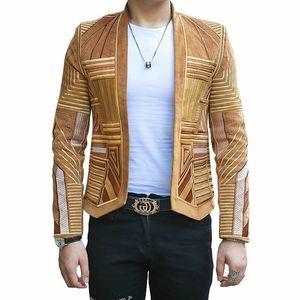 Designer Mens Stage Partido Hight qualidade Corduroy Blazer Bordado Suit Jacket Men Slim Fit