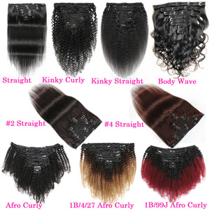 Afro Kinky Curly grampo em extensões do cabelo humano 120g 8pcs Raw indiano Remy onda do corpo reta Clip Yaki no weave Grosso Cabelo Natural Clipe Ins