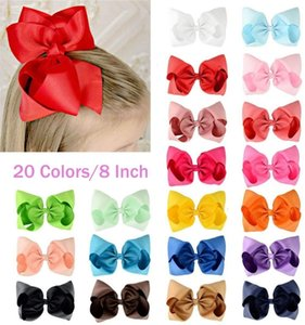 "20Pcs 8"" Hair Bows Clips Boutique Grosgrain Ribbon Big Large Bowknot Pinwheel Headbands For Baby Girls Teens Toddlers Kids Y200710"