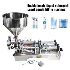 Crema cabezas dobles de llenado de la máquina neumática volumétrica Softdrin líquido de relleno para la bebida de zumo de aceite en agua jabón de miel 10-300ml