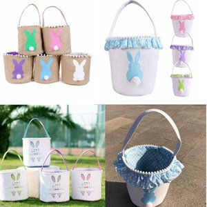 13styles Easter Basket Canvas Rabbit Buckets Lace Easter Bunny Bags Baskets Kids Candy Tote Handbags Egg Hunt Storage Bag GGA3194-2
