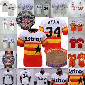 Nolan Ryan Jersey 1969 WS 1999 Ünlüler Geçidi Yama Gökkuşağı Turuncu Beyaz Vintage Krem Pinstripe Gri Kazak Düğme