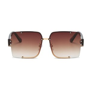 Sunglasses Unique Rimless Blue Brown For Women Fashion Brand Candy Color Sun Glasses Men Vintage Square Hip Hop Shades NX