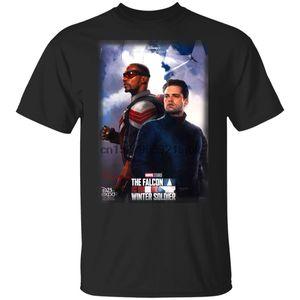 Falcon Ve Kış Asker Siyah Tişört Film Gömlek Erkekler Womne S ... Nefes Tee Shirt