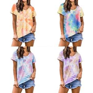 SAISONS Tie Dye Imprimer nervuré femmes T-shirt Crop Top Bandage manches longues sexy Streetwear Vêtements d'été ASTS80273 # 998 Drawstring