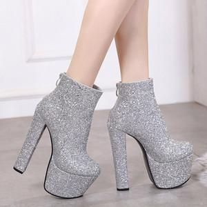 Kadın sLive Yüksek Topuk Kalın tabana vurma Fermuar Nightclub Kısa Boots parıltılı şık Boots ışıldamaya Platformu Stiletto topuk Boots