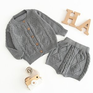 Knitting Girls Clothing Sets Pure Cotton Knit Suit Long Sleeved Jacket Shorts Two Pieces Girls Clothes Clothing Sets 0-24