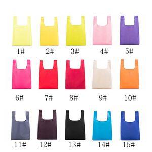 Katlanabilir Alışveriş Çantaları Oxford Yeniden kullanılabilir Bakkal Çantası Çevre Dostu Alışveriş Çantaları Bez Çantalar 19 Renkler W35 * H55cm DH0325