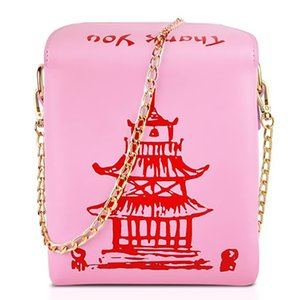 Para llevar chino Box Torre Imprimir bolso de las mujeres de la novedad linda chica de hombro bolsa de mensajero femenino totalizadores del monedero bolsos de diseño