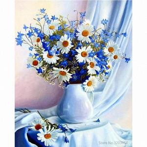 Chunxia encadrée bricolage Peinture par numéros fleur peinture acrylique Image moderne Décoration d'intérieur pour Living Room 40x50cm RA3270 UKRP #