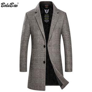 BOLUBAO Manteau de laine Blend Hommes Version Homme Printemps longue en laine mélangée chaud Plaid Fashion Imprimer Manteau Marque Hommes Blends