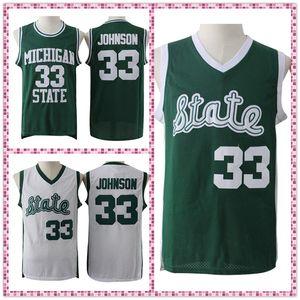 Университет штата Мичиган Ирвин Джонсон # 33, Джонсон Джерси Ретро Зеленый Белый Вышитые Баскетбол Джерси, свободная перевозка груза