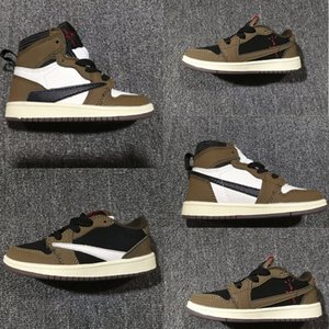 Infant Travis Scott Kids Basketball Shoes High Dark Mocha Low OG SP TS Black Brown New Born Baby Cactus Jack Small Big Boy Girl 5y Sneakers