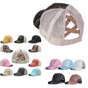 At kuyruğu beyzbol şapkası ayarlanabilir mesh snapback şapka sequins parlatılmış kadınlar için yıkanmış kapaklar erkekler şapka yaz glitter parti şapkalar IIA183