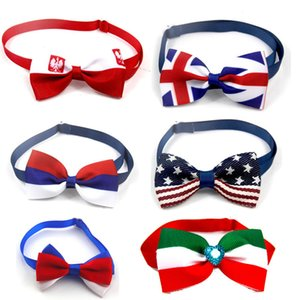 Großhandel Flagge Haustier Hund Katze Bowties Kragen-Haustier-Bögen Welpen-Katze Krawatten Fliege Krawatten Samll -dog Cat Grooming Supplies Pet Supplies