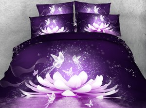 3pcs HD Digital Print Buddhism flower lotus print duvet cover set Full queen king size Buddha floral bedding sets