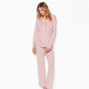 2020 spring European and American new long sleeved trousers cotton warm pajamas set women Y200708
