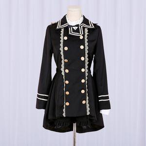 Harajuku Women Swallowtail Trench Gothic Bandage Bow Lace Black Lolita Party Coat Punk Style Girl Cosplay Uniform