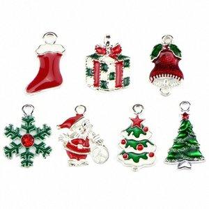 10pcs / lot Merry Christmas Deer Arbre Père Noël Charms émail Pendentif Accessoires Bijoux fantaisie Collier Bracelet bricolage correspondent ZTId #