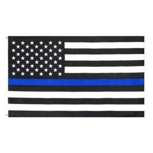 EE.UU. Bandera directa de la fábrica al por mayor de 3x5Fts 90cmx150cm agentes de la autoridad de Estados Unidos de América EE.UU. Policía Thin Blue Line Bandera EEA1786