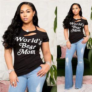 Casual Tops Frauen reizvolles aushöhlen T-Shirts Frauen-Sommer-Designer Brief Halter Loch Fashion Tees Frauen