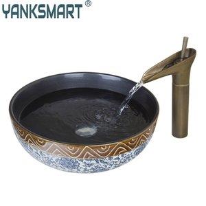 Ванная комната керамический тазик раковины Art Antique раковины ванной комнаты Set Круглый керамический сосуд Раковина с водопадом кран