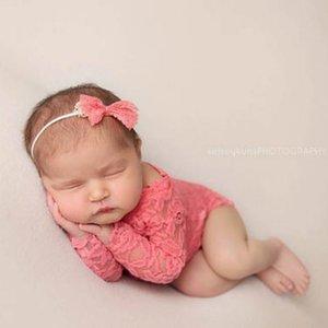 소품 촬영 아기 여자 레이스 뛰어 돌아 다니는 신생아 사진 소품 유아 사진 의상 깊은 V 돌아 가기 레이스 점프 수트 머리띠 세트 사진