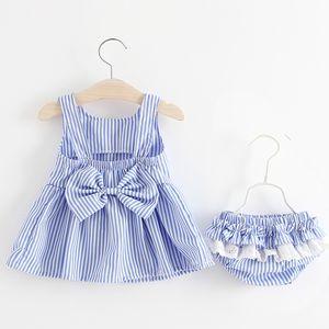 Newborn Baby Girls blue pink color Sleeveless Girl Dress + short pant 2pcs toddler Clothing Sets Kids