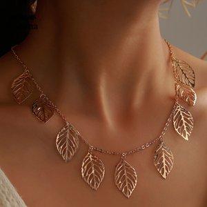 여성 보헤미안 빈 기하학적 체인 보석 선물 드롭 배송 15231에 대한 매력적인 골드 컬러 잎 초커 목걸이