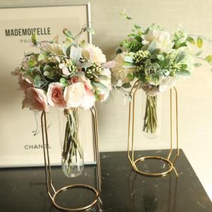 1pc Künstliche Blumen Silk Kamelie-Pfingstrose Mini-Hochzeit Blumenstrauß Hydrangea für Zuhause-Party-Dekoration Innen