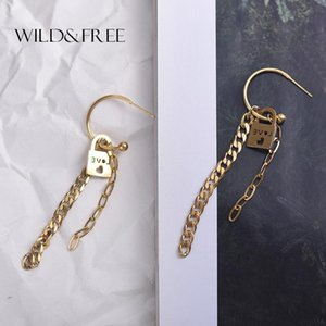 Wild&Free Fashion Tiny Lock Dangle Earrings For Women Gold Circle Long Link Chain Love Heart Earrings Stainless Steel Jewelry