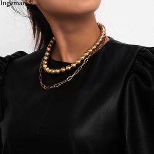 Bohemian Multi Layer Bead Pendant Choker Necklace for Women Steampunk Gothic Full Big Beads Chain Necklace Men Sweater Jewelry