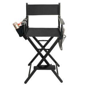 Directors Chair Canvas Tall Seat Black Wood Folding Hair Stylist W  Storage Bag