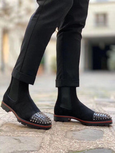 Superqualität Voll Red Bottom Stiefel, Luxus Red Soles Ankle Boot Spitzen Toe Veloursleder Männer hohe Spitzen-Boot-Men Perfect Motorrad-Boot-Shor