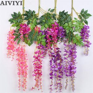 Artificial Wisteria Flower Fake Plastic Plant Vine Hanging Leaves Rattan Home Wedding Wreath Decoration Home Wall Decoration