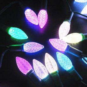 50nodes 드레서 RGB C9 DC12V WS2811 LED 크리스마스 화소 문자열 등; 6인치 (15cm) 선 간격, ALL BLACK 와이어; IP68