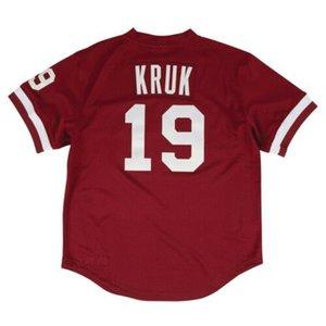 Дешевые Джон Крук # 19 Mitchell Ness Red Top Mesh Mens прошитой XS-6XL бейсбола трикотажных изделий