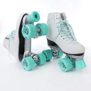 double rangée patins quatre patins à rouleaux roue chaussures de poulies traditionnelles des femmes